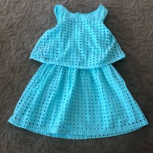 Cherokee girls aqua sundress dress 5t eyelet
